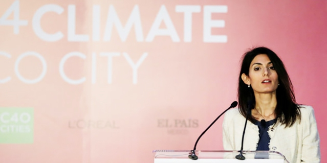 Rome's Mayor Virginia Raggi gives a speech during the Women4Climate conference in Mexico City